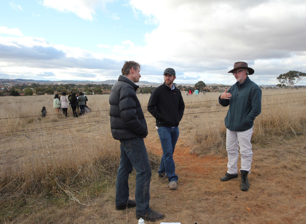 Pictured above (from the left) are Phil Gibbons (EDG), James Tresize (Department of the Environment) and Michael Mulvaney (ACT Government). The trio are leading a field class of third year biodiversity conservation students on how to use the offsets assessments guide – a hands-on session of how you might calculate an offset for a proposed development of habitat for the threatened striped legless lizard.