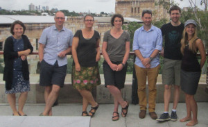 Discussing urban ecosystems were (left to right): Kerrie Wilson, Jonathan Rhodes, Catherine Lovelock, Danielle Shanahan, Chris Ives, Matt Mitchell and Marit Wilkerson.