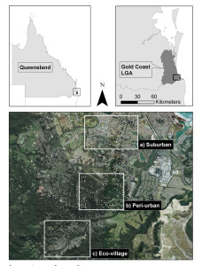 Figure 1: Map of the study site showing the Gold Coast Local Government Area in south-east Queensland and residential areas where surveys were carried out: (a) suburban, (b) peri-urban, and (c) eco-village (base image from Google Earth). Koala sightings are shown as white dots (source: Gold Coast City Council and Wildcare, Queensland Government).
