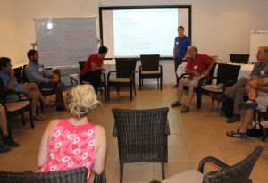 Reid Tingley discusses the feasibility of stopping the spread of toads at a workshop in Broome.