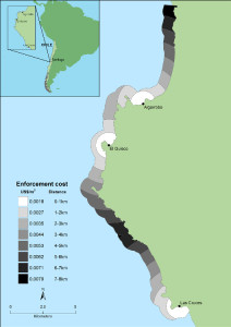 Figure 1. Enforcement costs in the central marine region of Chile; fishing organisations are indicated. Inset describes location of study area on the Chilean coast.