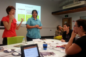 Kelly Fielding (on the left) and Winnifred Louis lead the workshop on the psychology of effective communication.