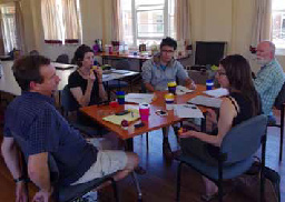 Brandon, Natasha, Takehiro, Richard and Lauren discuss explanatory variables on the second day of the workshop. (Photo by Mandy Trueman).