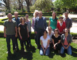 Participants of the Urban Biodiversity workshop: (standing from the left) Richard Fuller (UQ), Mat Wolnicki (DoE), Sarah Bekessy (RMIT), Pia Lentini (UniMelb), Dave Kendal (ARCUE), Ross Rowe (DoE), Karen Ikin (ANU), Laura Mumaw (RMIT), Chris Ives (RMIT), (sitting) Danielle Shanahan (UQ), Caragh Threlfall (UniMelb), Georgia Garrard (RMIT) and Laura Rayner (ANU).