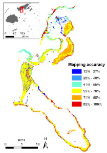Figure 1: Accuracy values for a map of marine ecosytems derived from remote-sensing imagery of the Kubulau Fiji fisheries  management area (qoliqoli).