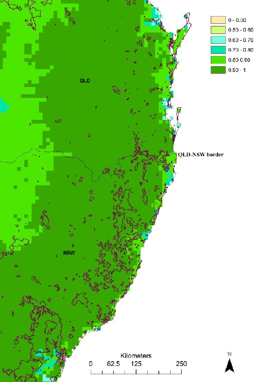 Figure 2 indicating a portion of Queensland and New South Wales, with current protected areas outlined in red overlayed with highest priority areas for koala conservation (current climate) in darker green.