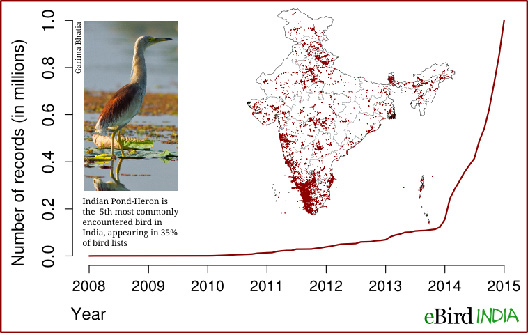 Figure 1: Growth of eBird India. Note: a 'record' is an observation of a species at a particular time and location.
