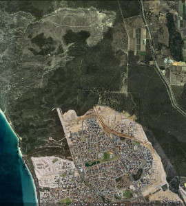 Urban sprawl chipping away at native vegetation on the Swan Coastal Plain, WA. (Image Google Earth)