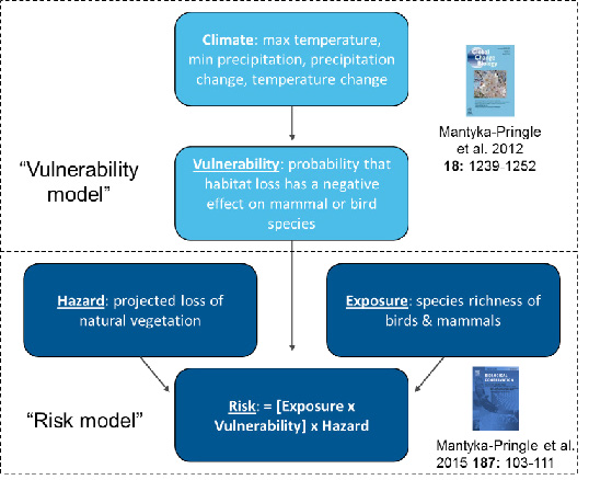 Figure 1: The steps taken to calculate the risk of biodiversity loss from habitat loss.