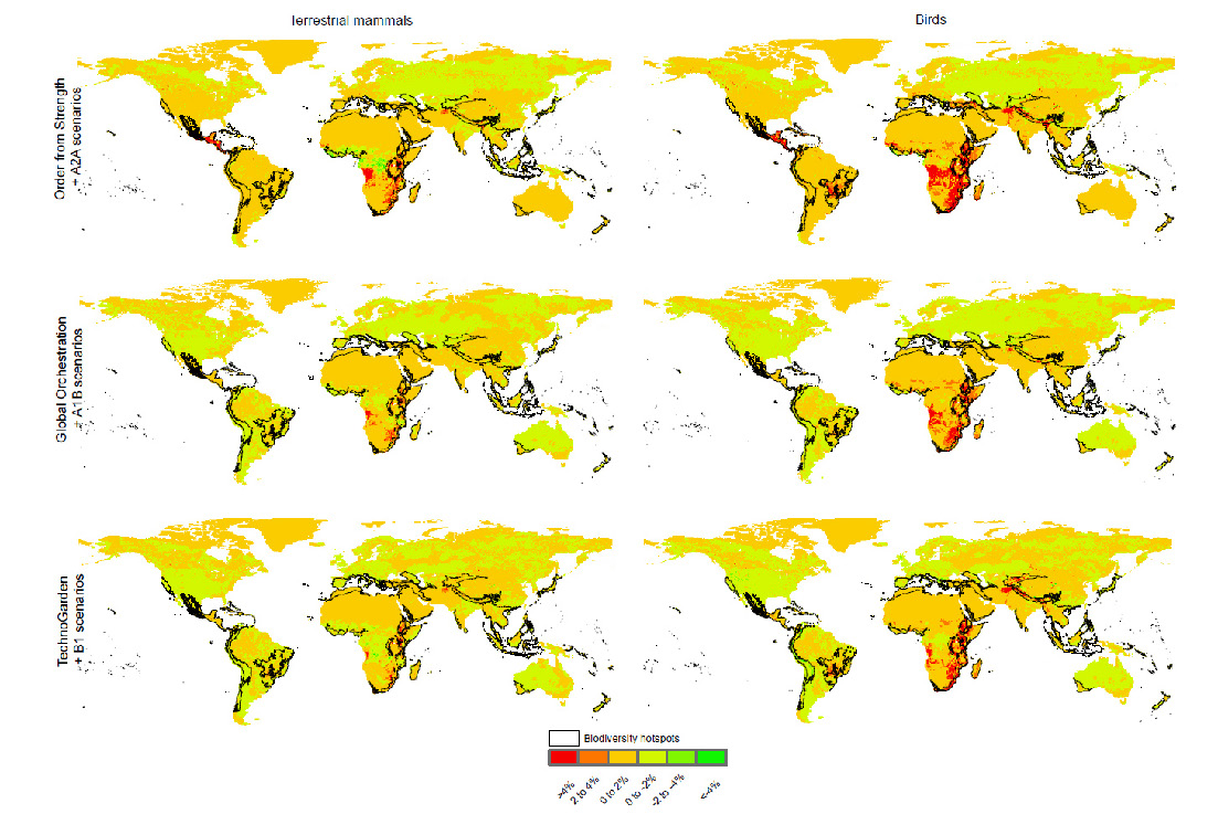 Figure 2: A map showing the effect of the interaction between climate change and habitat loss on the risk of species being impacted from future land-cover change (and across biodiversity hotspots) for terrestrial mammals and birds. Values represent the percent change in the number of species affected after considering the interaction with climate for different climate change and land-cover change scenarios.