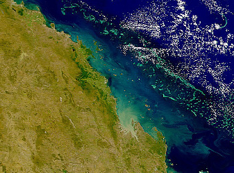 Sediment plumes from the coastline adjacent to the Great Barrier Reef are visible even from space. (Image NASA)