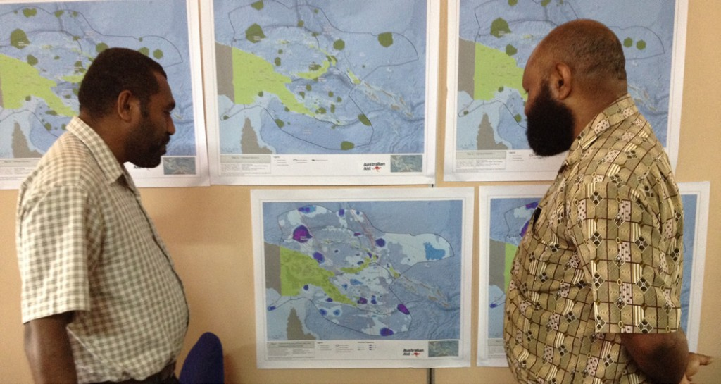 Public servants from CEPA consider different networks of marine protected areas. (Image by Carissa Klein)
