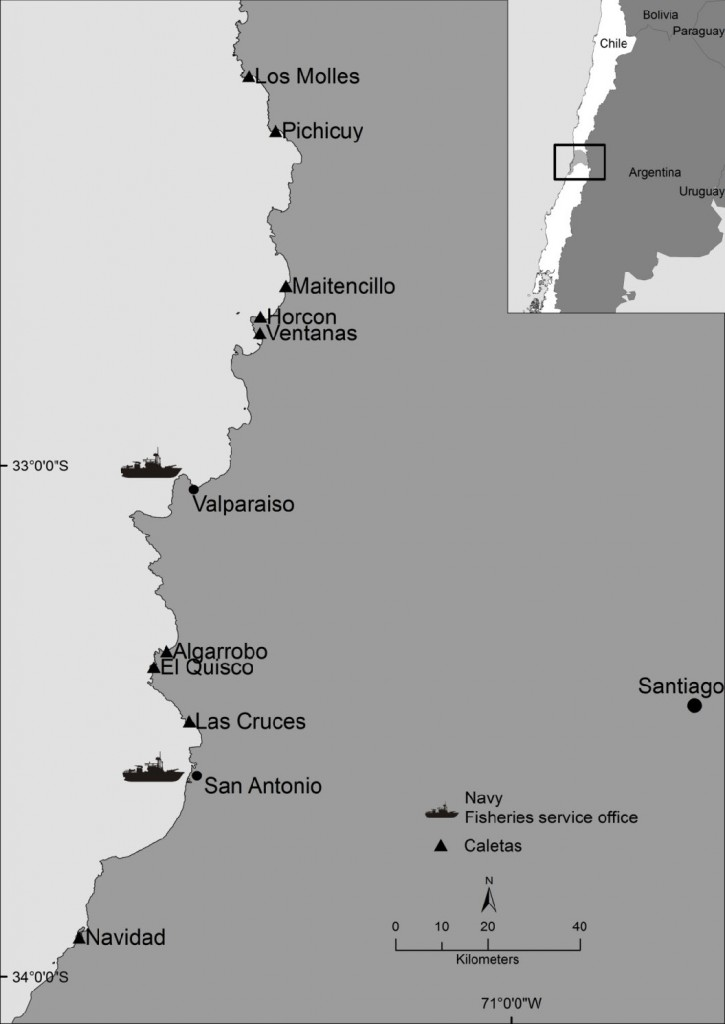Figure 1: Case study area in the central marine region of Chile.