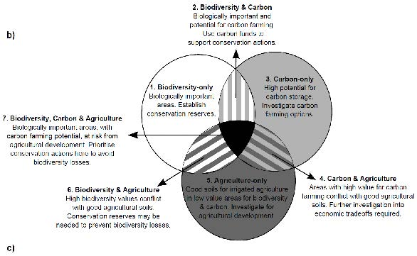 Figure 1b: Venn diagram showing the areas of potential conflict (trade-offs) or synergies between the three land-uses as well as their implications for policy making.