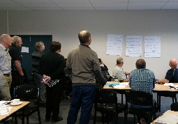 "The writing is on the wall: Taranaki dairy farmers review the issues regarding riparian margins raised during the group discussion. The question they asked themselves was: ""Which of these are most important to me?"" (Image by Fleur Maseyk)"