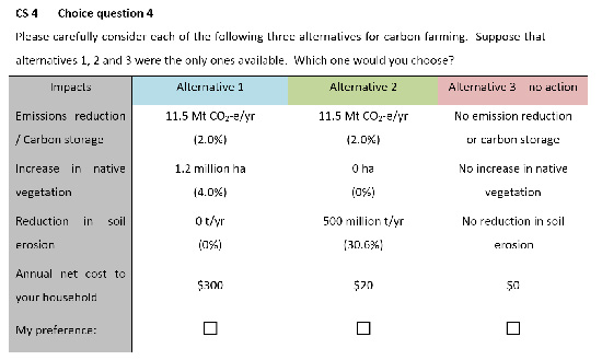 Figure 1: An example of one of the choice questions used in the survey.
