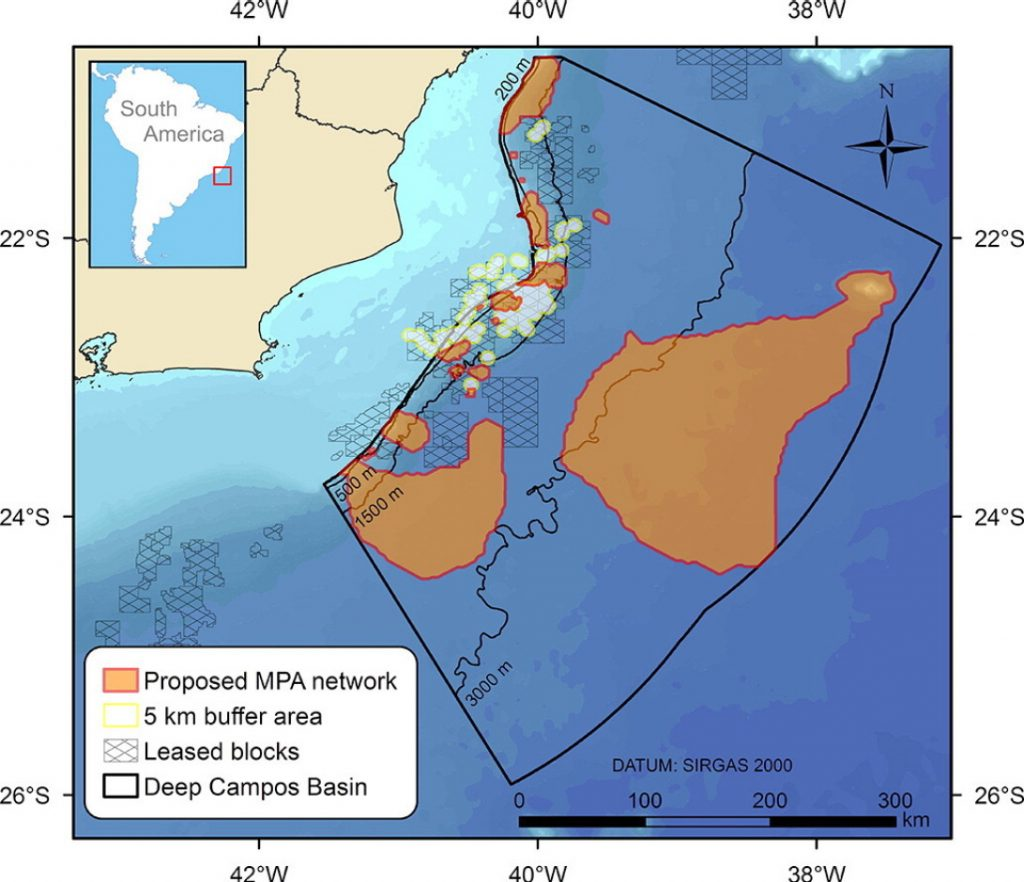 The Campos Basin off the Brazilian coastline showing the location of a proposed MPA network. The plan was generated using Marxan.