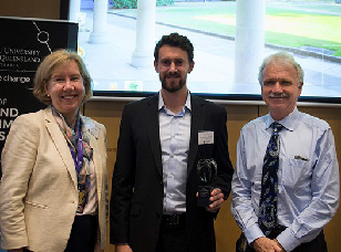 James Allan (centre), recipient of the Elsevier Atlas award, with Prof Melissa Brown (UQ Executive Dean of Science) and Prof Aidan Byrne (UQ Provost).