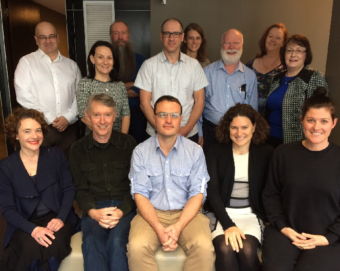 The working group attempting to develop a framework to measure CEED's impact: from left (front row): Sarah Bekessy, Dave Pannell, Tas Thamo, Tammie Harold, Eve Macdonald- Madden; (middle row): Kerrie Wilson, Jonathan Rhodes, Richard Hobbs, Margaret Byrne; (back row): Tony Peacock, Alistar Robertson, Vanessa Adams and Kathy Avent.