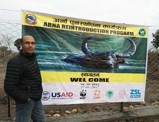Ram Pandit at the launch of a new program to reintroduce species (like the water buffalo in the poster) that have gone locally extinct. Such programs have been assisted by the increase in resources generated by the increase in park entry fees. (Photo by Ram Pandit)