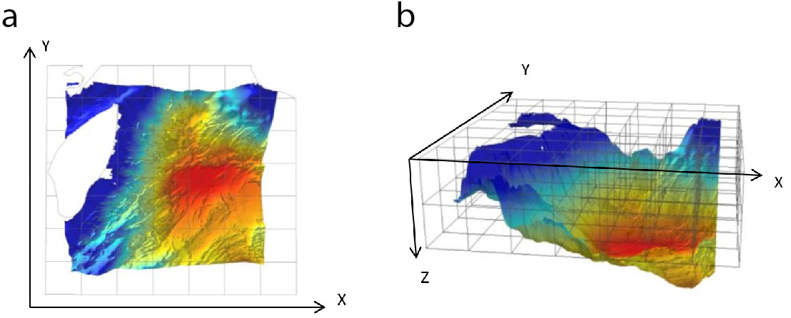 Figure 1. The concept of spatial conservation prioritisation in 2D and 3D in marine ecosystems. a) The traditional approach to marine spatial prioritisation, in which the planning region is subdivided into 2D planning units (x,y coordinates). b) The new 3D approach to marine spatial prioritisation, where planning units are defined as a three-dimensional space (x, y, z, coordinates), and are subdivided vertically (from Venegas-Li et al, 2017).