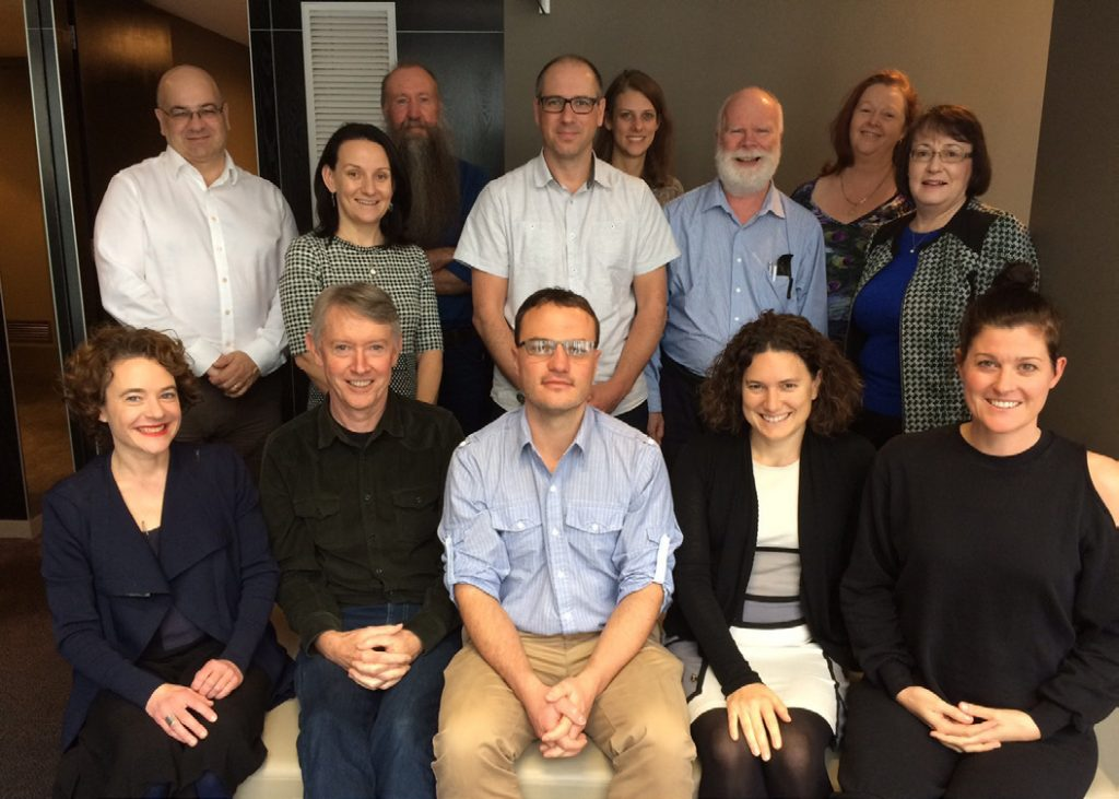One of CEED's legacies will be our attempt to develop a framework to measure CEED's impact, a methodology that can be applied to any research network (see Decision Point #106 for details) . Pictured here is the working group that developed the framework. From left (front row) are Sarah Bekessy, Dave Pannell (who led the evaluation), Tas Thamo, Tammie Harold, Eve Macdonald- Madden; (middle row), Kerrie Wilson, Jonathan Rhodes, Richard Hobbs, Margaret Byrne; (back row), Tony Peacock, Alistar Robertson, Vanessa Adams and Kathy Avent.