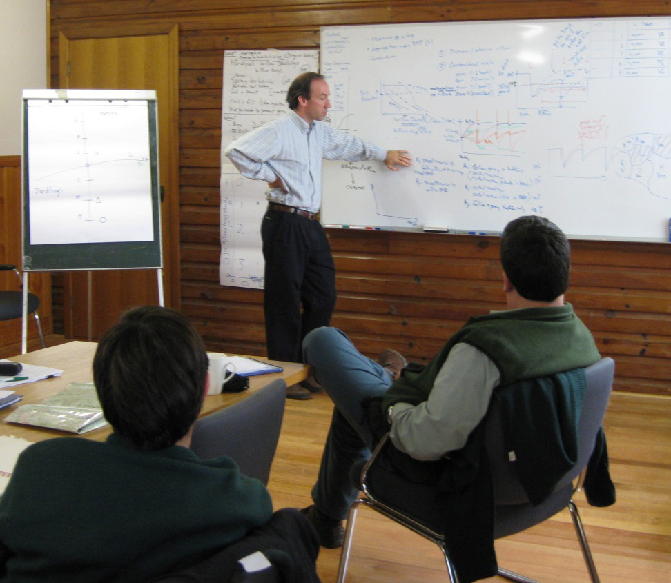 Structured decision making involves working with key stakeholders involved in a problem to create an agreed framework around the decisions they need to make. Pictured here is Mike Runge discussing models and uncertainties with managers tasked with dealing with invasive willows in Victoria's highlands. (See the box on decisions about willows in the high country.)