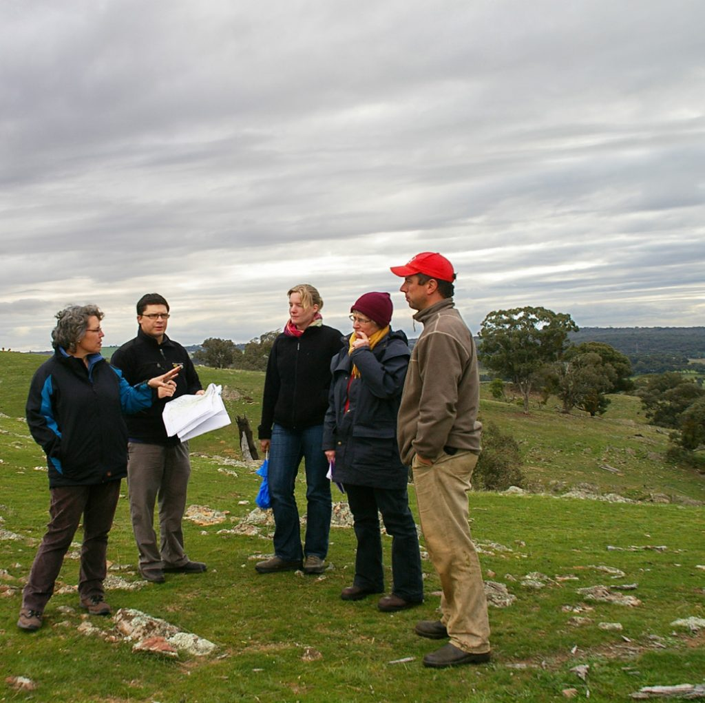 INFFER team members assess proposed environmental projects with stakeholders in North Central Victoria. (Photo by Geoff Park)